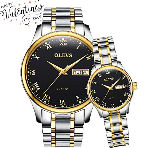 OLEVS His and Hers Watches Couple Matching Set, Business Casual Analog Quartz Luminous Wrist Watches for Women and Men, Classic Calendar Date Window Waterproof Titanium Steel - Watch Set Hers