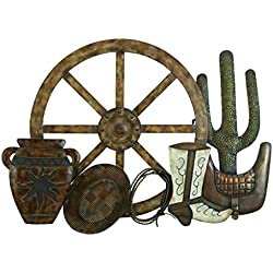 "Deco 79 13704 Metal Western Wall Decor 32"" W, 23"" H"