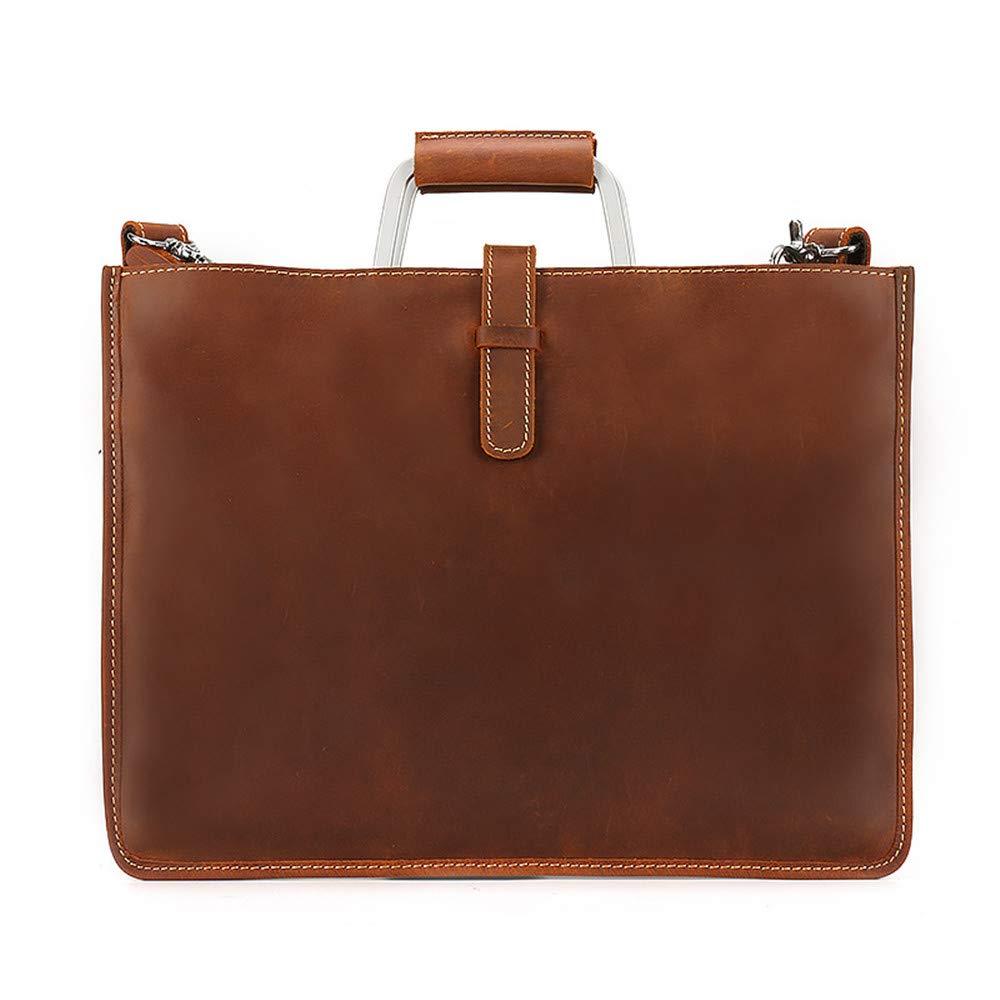 Color : Brown Bxfdc Mens Bag Cross Section Briefcase Retro Bag top Layer Leather Mens Handbag Messenger Bag