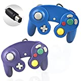 Reiso 2 Packs NGC Controllers Classic Wired Controller for Wii Gamecube( Blue and Blueviolet)
