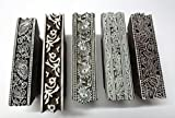 LOT OF 5 WOODEN HAND CARVED TEXTILE PRINTING FABRIC BLOCK STAMP FLORAL BORDERS