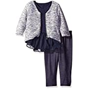 Pippa & Julie Baby Girls' Top, Leggings and Sweater 3-Piece Outfit, Blue, 3-6 Months