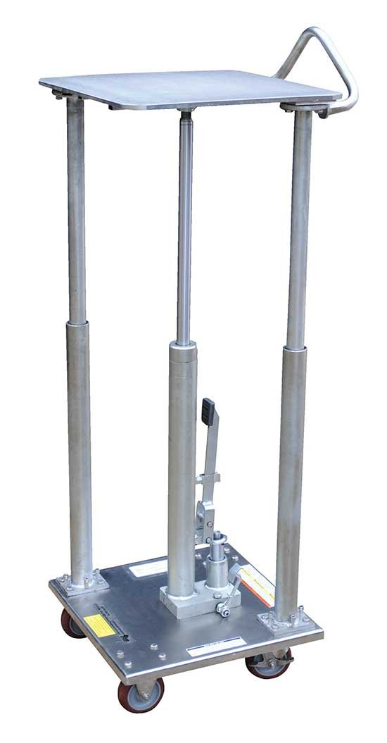Partially Stainless Steel Work Table - BHT-PSS Series; Platform Size (W x L): 18'' x 18''; Capacity (LBS): 500; Service Range: 49'' x 31''; Number of Posts: 2; Caster Type: 4'' x 1-1/4'' Poly-on-Poly