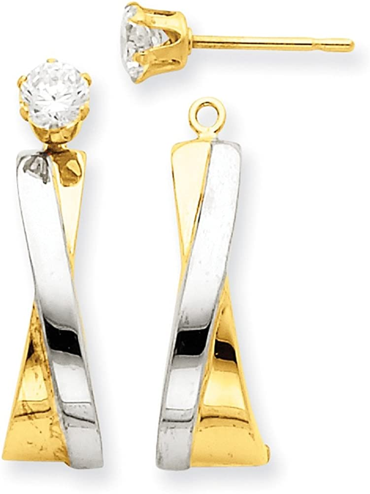 Lex /& Lu 14k Yellow Gold /& Rhodium J-Hoop w//CZ Stud Earrings Jackets LAL91840