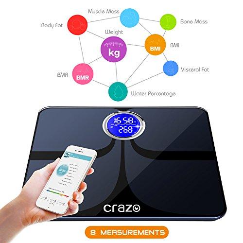 Body Fat Scale, CRAZO High Precision Bluetooth ...