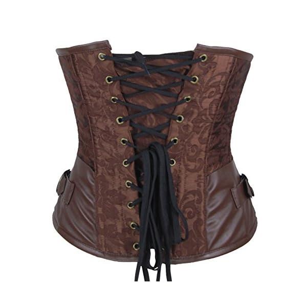 Shaperdiva Burvogue Women's Steampunk Underbust Corset Waist Cincher Gothic Bustier Top 5