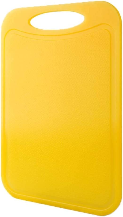 Kitchen Plastic Cutting Board, Reversible Chopping Board with Anti-Slip Feet,BPA-Free Non-Porous Dishwasher Safe Yellow 33.5x24cm