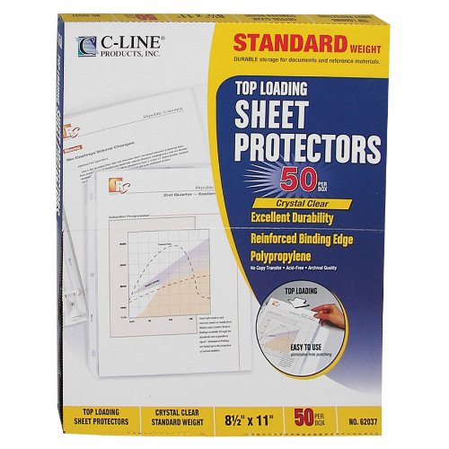 C-Line Top Loading Standard Weight Poly Sheet Protectors, Clear, 8.5 x 11 Inches, 50 per Box (62037) ()