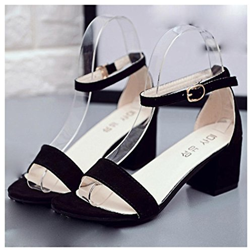 Summer Sandals, Inkach Women Single Band Sandals Chunky Heel Sandal With Ankle Strap Summer Shoes Black