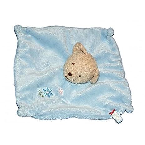 Doudou plat OURS carré bleu - TEX Carrefour - Fleur papillon brodés: Amazon.es: Bebé