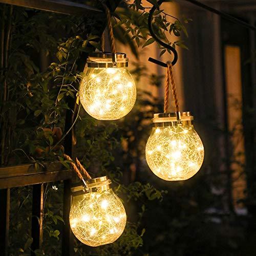 ROSHWEY Solar Lantern Jar Lights 2 Pack 30 LED Warm Crack Ball Light Waterproof Hanging Solar Lights, Solar Lanterns for Outdoor Patio Party Garden Lights (Garden Outdoor Lights Solar Hanging)