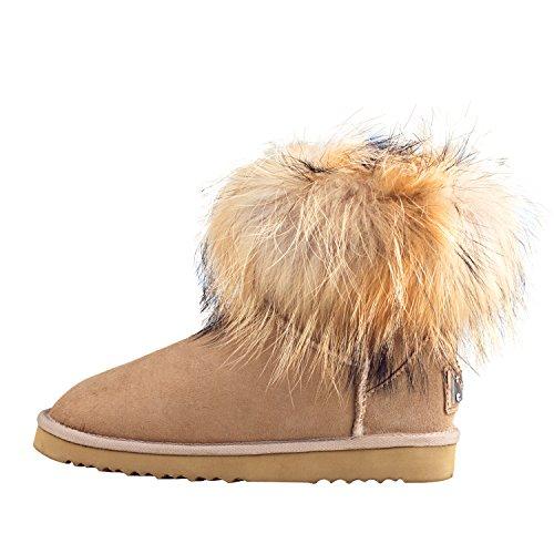 Invierno de de Clásicos con Botas Arena Nieve D8751 Piel Shenduo para Lana Mujer Interno Zapatos FSaxwYn5