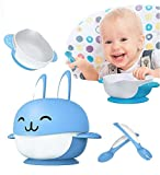 Suzzo Rabbit Sucker Feeding Dish Baby Sucker Bowl With Spoon Fork Baby Food Tableware Kids Training Dishes Food Container Blue