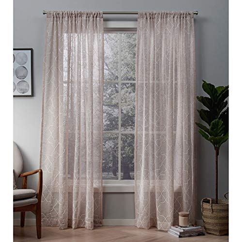 Exclusive Home Cali Embroidered Sheer Rod Pocket Curtain Panel Pair, Blush, 50x108