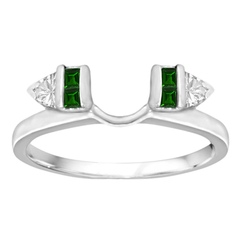 0.33 Created Emerald And Diamonds(G-H,I2-I3) Classic Bar Set Ring Wrap Enhancer in Silver (1/3 ct. twt.)