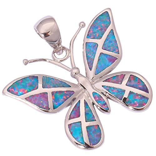 - Rainbow Fire Opal Silver Butterfly for Women Jewelry Gems Pendant 1 1/8 OD6171