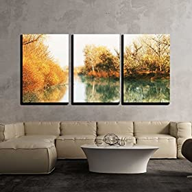 3 Piece Canvas Print – Contemporary Art, Modern Wall Decor – Lush Waterfall and Flowers