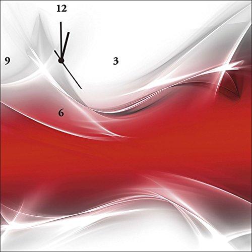 Artland Analoge Wand-Funk-oder Quarz-Uhr Digital-Druck Leinwand auf Holz-Rahmen gespannt mit Motiv Designus Kreatives Element Rot für Ihr Art-Design Abstrakte Motive Digitale Kunst Rot C0PJ