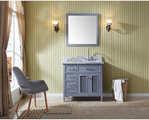 ARIEL Kensington D037S-R-VO-GRY 37″ Inch Single Rectangular Sink Grey Bathroom Vanity Cabinet