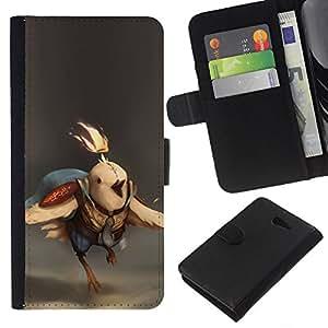 """A-type (Batalla de Aves"""") Colorida Impresión Funda Cuero Monedero Caja Bolsa Cubierta Caja Piel Card Slots Para Sony Xperia M2"""