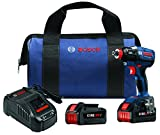 """Bosch IDH182-B24 18V EC Brushless 1/4"""" and 1/2"""" Socket-Ready Impact Driver Kit with (2) CORE18V Batteries, Blue"""