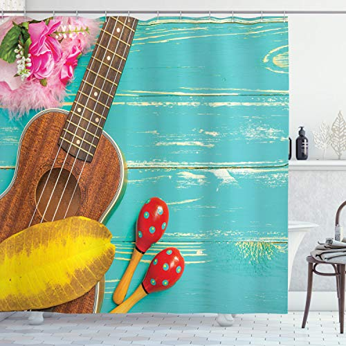 """Ambesonne Music Shower Curtain, Ukulele with Hawaii Style Background Wooden Classical Vacation, Cloth Fabric Bathroom Decor Set with Hooks, 75"""" Long, Mint Yellow"""