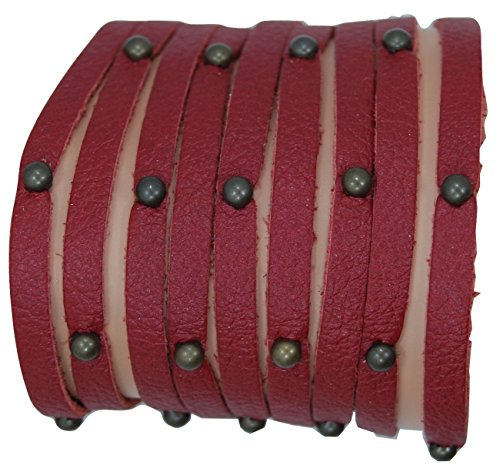 LaGaksta Womens Multi Strand Leather Stud Bracelet Maroon