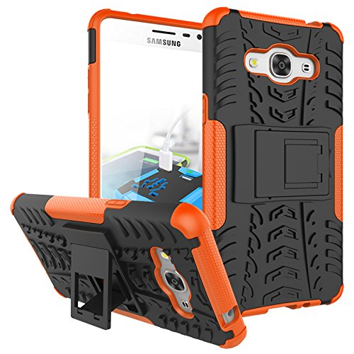 J3 Emerge Case, Galaxy J3 2017/ Amp Prime 2/ J3 Luna Pro/ Express Prime 2 Case, KMISS Hybrid Heavy Duty Armor Protection Cover [Anti Slip] [Built-In Kickstand] Skin Case For Samsung J3 Emerge (Orange)