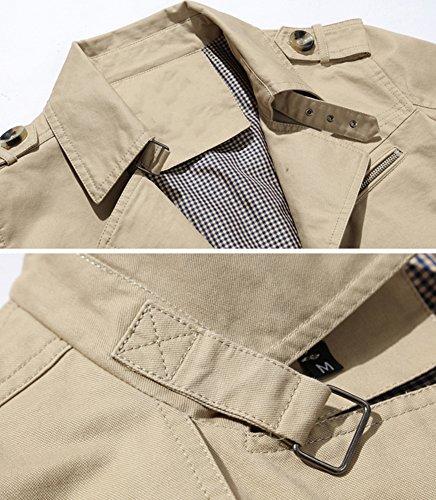 8a136127b Mochoose Homme Trench Coton Veste Classique Col à Revers Blouson ...