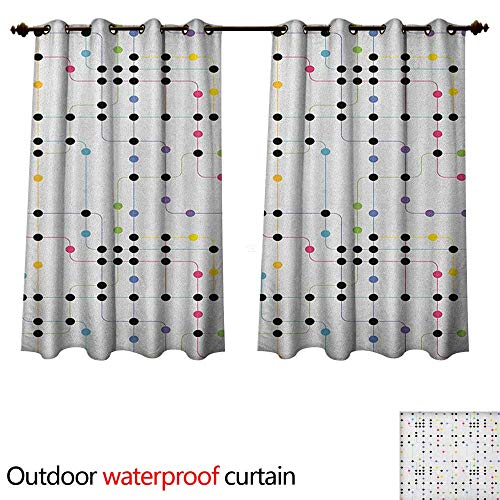 - Anshesix Colorful Outdoor Curtains for Patio Sheer Metro Scheme with Vivid Colored Intricate Lines and Dots Urban Life Transportation W55 x L45(140cm x 115cm)