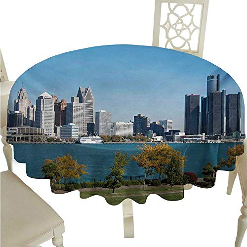 Detroit Decorative Textured Fabric Tablecloth Industrial City Center Shoreline River Scenic Panoramic View in a Sunny Day Washable Polyester - Great for Buffet Table, Parties, Holiday Dinner, -