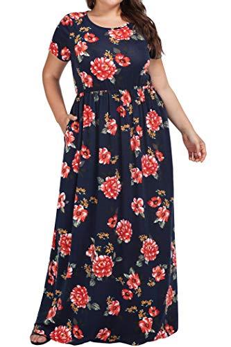 kissmay Party Long Maxi Dresses Women, Oversized Maternity Dress with Sleeves Drape Polyester Summer Dresses Crew Collar Tunic Fancy Flowy Maxi Dresses for Cute Princess Juniors Navy 16W - Dress Pleat Maternity Sleeve