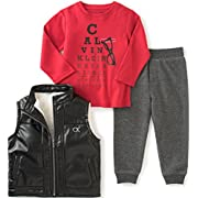 Calvin Klein Baby Vest with Button Front, Tee and Pants Set, Assorted, 6/9 Months