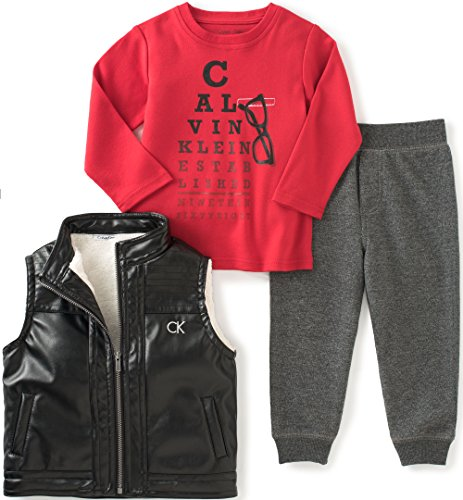 Calvin Klein Baby Vest with Button Front, Tee and Pants Set, Assorted, 0/3 Months by Calvin Klein