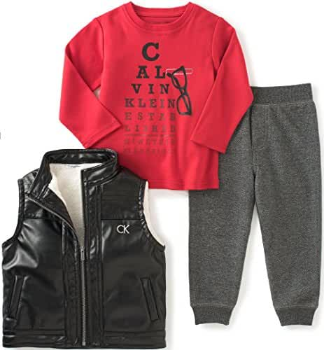 Calvin Klein Baby Boys' Vest with Button Front, Tee and Pants Set
