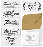 50 Thank You Cards With Envelopes - Occasion and Gender Neutral – Bulk Box 4x6 In Postcard Style (Unfolded) For Personalized Thank-you Notes -For Graduation, Teachers, Business, Funeral, Bridal Shower