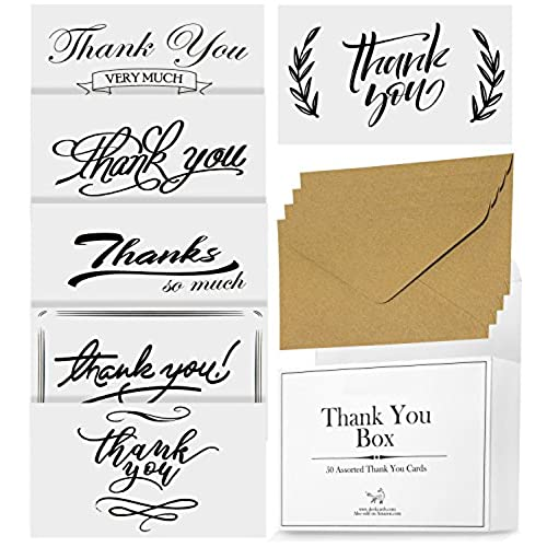 Bulk thank you gifts amazon 50 thank you cards bulk box premium 300gsm paper for wedding baby shower graduation 6 elegant designs for women and men w envelopes for small gift negle Images