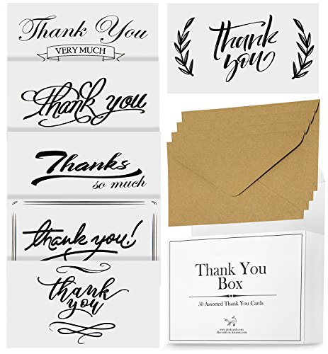 50 Cards Blanks (50 Assorted Thank You Cards - 6 Designs Thank-You Postcards, 300gsm, Bulk Box w/ 50 Envelopes For Small Gift, Blank Back For Appreciation Note, For Wedding, Baby Shower, Graduation - For Women And Men)