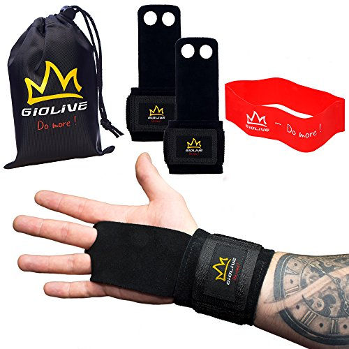 Natural Leather Crossfit Gloves with Wide Wrist Wraps & Resistance Band Set | Best Crossfit Grips, Wodies & Gymnastics Hand Grips For Men & Women by Giolive ()