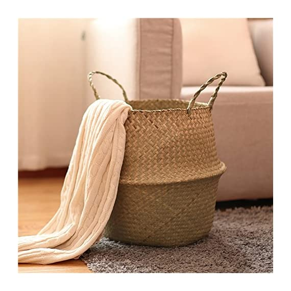 Natural Seagrass Belly Basket for Storage, Laundry, Plant Pot Holder Cover Planter, Medium - UNIQUE:Sea grass has natural color variations which makes every basket unique.Dimension: The top open diameter is 9.5 inch, the widest diameter is 12.6 inch, the height is 11 inch DELICATE WEAVING: The weaving is delicate and well made, and it will stand up straight and hold its shape.Each basket is woven by hand and is therefore unique again FLEXIBLE FIT: it's pliable constructed, so you can fit it into small awkward spaces.Storing your belongings in baskets makes it easier to be organized and find what you're looking for. - living-room-decor, living-room, baskets-storage - 51Frnr8S2kL. SS570  -