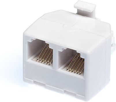 2-Way 6P4C RJ11 Modular Phone Wall Adapter and Splitter AD
