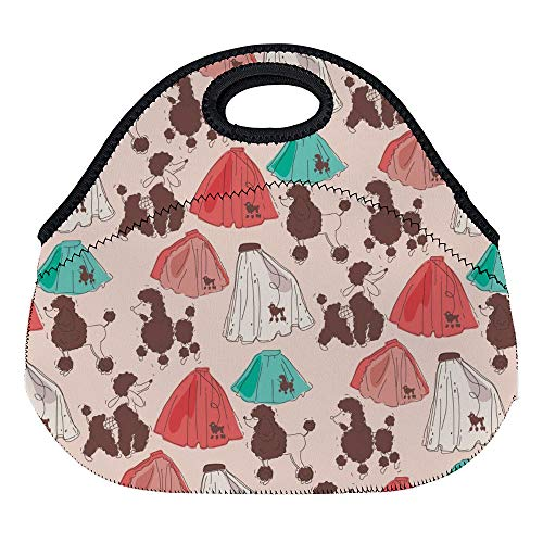 DKISEE Poodle Skirt Pattern Large & Thick Neoprene Lunch Bags Insulated Lunch Tote Bags Cooler Warm Warm Pouch for Women Teens Girls Kids Adults -