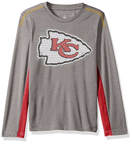 Outerstuff NFL Youth Boys Mainframe Long Sleeve Performance Tee-Light Charcoal-L(14-16), Kansas City Chiefs