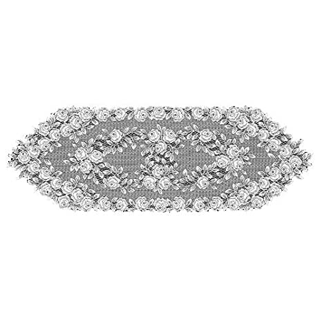 Heritage Lace Tea Rose 14-Inch by 60-Inch Runner Ecru TR-1460E
