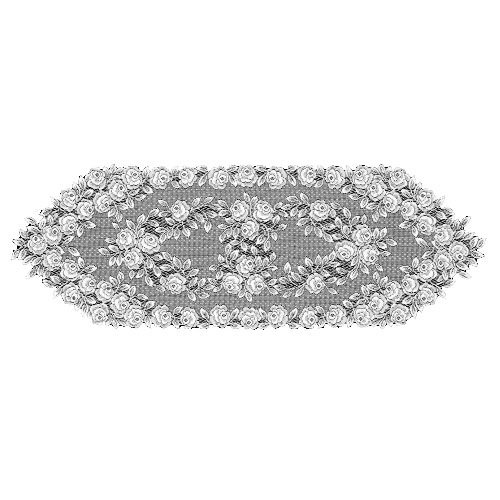 (Heritage Lace Tea Rose 14-Inch by 72-Inch Runner, White)