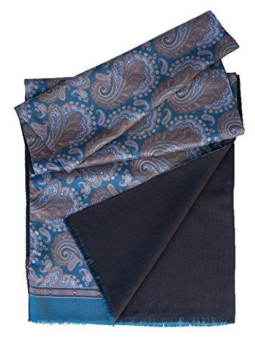 Elizabetta Men's Italian Silk Scarf-Paisley Print-Wool Lined-Ocean Blue by Elizabetta