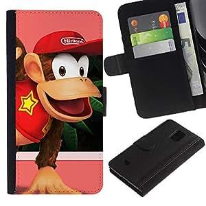 EJOY---Tirón de la caja Cartera de cuero con ranuras para tarjetas / Samsung Galaxy S5 Mini, SM-G800 / --Burro Rey