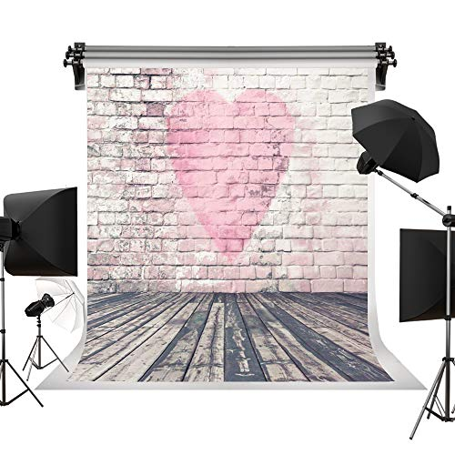 Kate 5x7ft/1.5m(W) x2.2m(H) Wedding Backdrop Pink Brick Wall Backgrounds Valentine's Day Wood Photography Backdrops