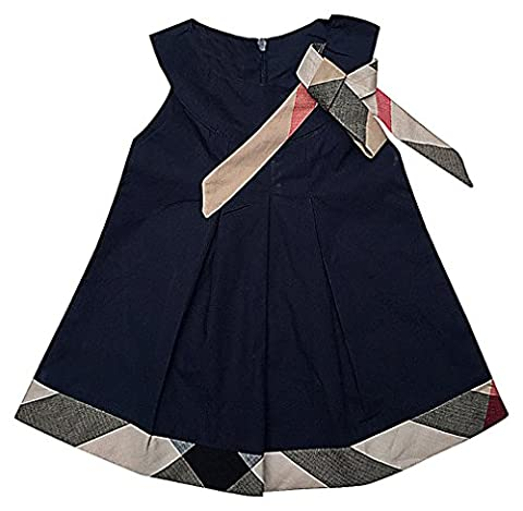 Sweety Girls' Pleated Plaid Panel Trim & Ribbon Belt Short Sleeve Trapeze Dress, Blue 3-6 Months - Dungaree Collection