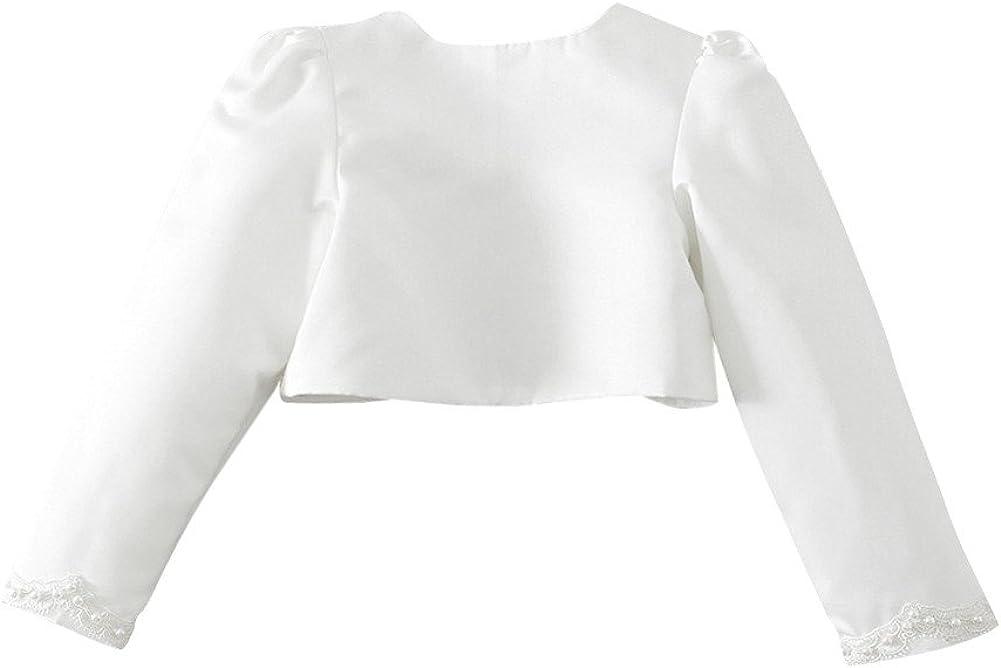 FEESHOW Girls Kids Beaded Long Sleeve Bolero Shrug Jacket Short Cardigan Wedding Flower Dress Cover ups